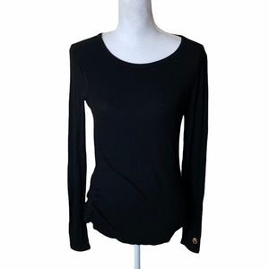 Spiritual Gangster Black Ribbed Long Sleeve Top